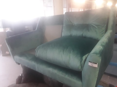 Lot 59 DESIGNER GREEN VELVET VINTAGE STYLE TWO SEATER SOFA