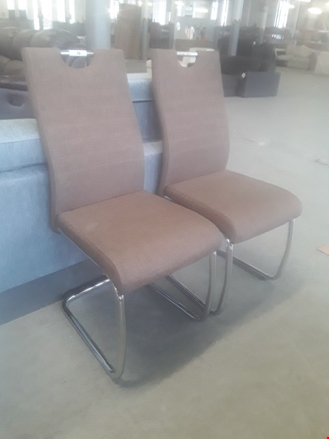 Lot 79 PAIR OF DESIHNER TALA CHROME FRAMED BROWN FABRIC DINING CHAIRS