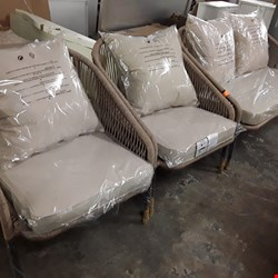Lot 40 GRADE 1 NAPOLI ROPE EFFECT NATURAL SOFA SET & TABLE WITH CUSHIONS