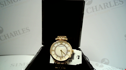 Lot 18065 DESIGNER EMPORIO ARMANI GOLD TONE LADIES WRISTWATCH