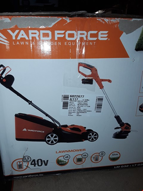 Lot 12373 YARD FORCE 32CM ROTARY CORDLESS LAWNMOWER AND GRASS TRIMMER TWIN PACK WITH LITHIUM-ION 40V BATTERY