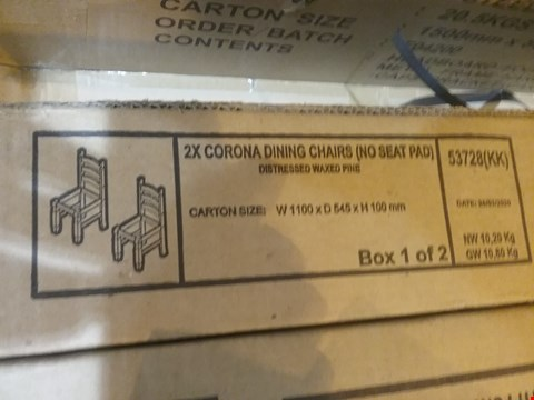 Lot 551 2 * CORONA DINING CHAIRS ( NO SEAT PAD ) ( BOX 1 OF 2 ONLY )