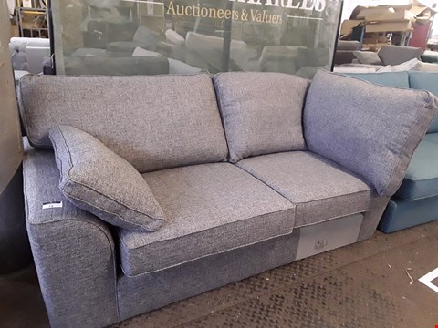 Lot 78 QUALITY DESIGNER BRITISH MADE STAMFORD GREY FABRIC TWO SEATER SECTION WITH BOLSTER CUSHIONS