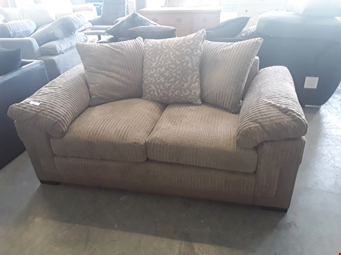 Lot 33 DESIGNER BEIGE FAUX LEATHER AND JUMBO CORD 2 SEATER SOFA WITH SCATTER BACK CUSHIONS