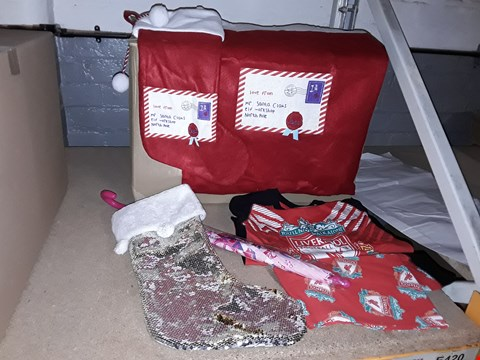 Lot 4023 BOX OF ASSORTED ITEMS TO INCLUDE CHRISTMAS STOCKINGS, CHILDRENS FOOTBALL PYJAMAS, CHILDRENS UMBRELLAS