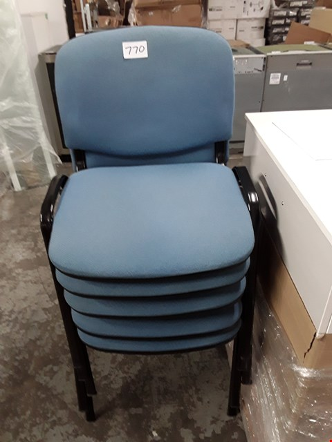 Lot 770 LOT OF 5 BLUE FABRIC ON BLACK FRAME STACKABLE OFFICE CHAIRS