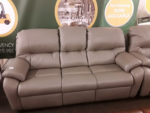 Lot 8010 QUALITY DESIGNER BRITISH MADE WOODEN FRAME GREY LEATHER ELECTRIC RECLINING 3 SEATER SOFA WITH MATCHING ARMCHAIR