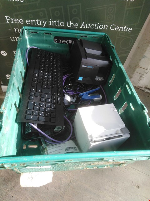 Lot 3016 BOX OF ASSORTED ELECTRICAL PRODUCTS TO INCLUDE; EPSON RECEIPT PRINTER, STAR RECEIPT PRINTER AND LENOVO KEYBOARD
