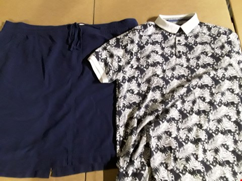 Lot 9334 3 BOXES OF APPROXIMATELY 81 ASSORTED CLOTHING ITEMS TO INCLUDE LONG MILITARY SHIRT, PRINTED POLO SHIRT, LINEN MIX SKIRT