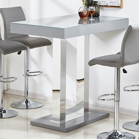 Lot 45 BOXED CAPRICE GREY BAR TABLE IN HIGH GLOSS (COMPLETE SET, 2/2)