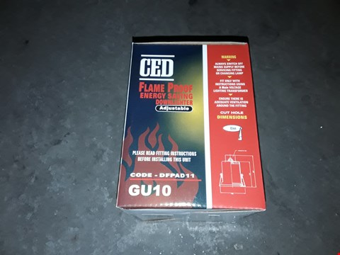 Lot 13149 CHROME CED FLAME PROOF ENERGY SAVING DOWNLIGHTER DFPAD11 - GU10
