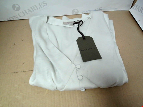 Lot 7149 ALLSAINTS AMALIE SATIN ICE WHITE TOP - SIZE 8 UK