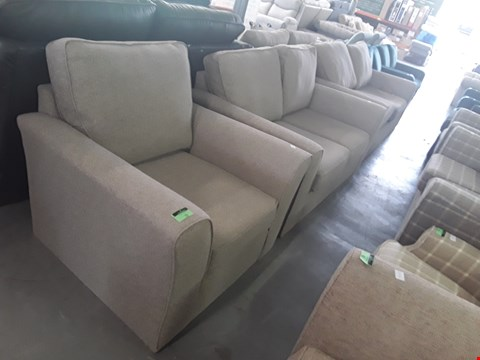 Lot 73 QUALITY BRITISH DESIGNER LINEN WEAVE FABRIC LOUNGE SUITE COMPRISING A 3 SEATER SOFA, 2 SEATER SOFA AND ARMCHAIR