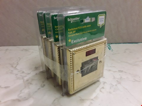 Lot 6154 LOT OF 4 SCHNEIDER SWITCHED FCU WITH NEON 13A DP - GEORGIAN ROPE EDGE BRASS