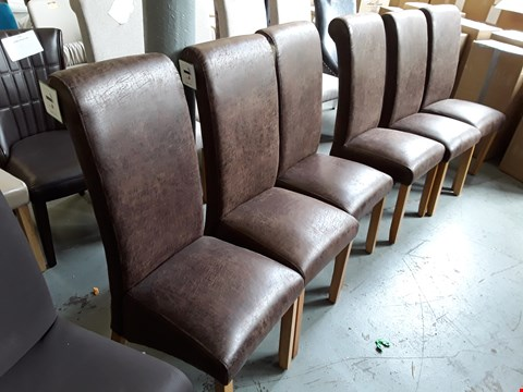 Lot 82 SET OF 6 DESIGNER BROWN LEATHER FULLY UPHOLSTERED SINGLE DINING CHAIRS ON OAK LEGS