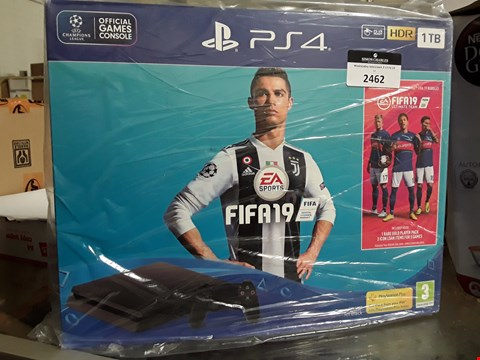 Lot 2462 SONY PLAYSTATION PS4 1TB HDR BLACK SLIM CONSOLE WITH FIFA 19