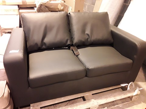 Lot 564 DESIGNER BLACK FAUX LEATHER TWO SEATER SOFA
