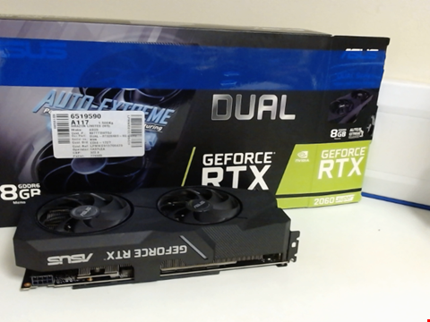 Lot 15196 ASUS DUAL GEFORCE RTX 2060 SUPER EVO 8 GB GDDR6 WITH TWO POWERFUL AXIAL-TECH FANS FOR AAA GAMING PERFORMANCE AND RAY TRACING DUAL-RTX2060S-8G-EVO