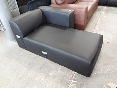 Lot 7117 BLACK FAUX LEATHER MINIMALISTIC CHAISE SECTION