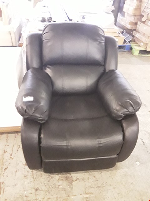 Lot 322 DESIGNER BLACK FAUX LEATHER MANUAL RECLINING ARMCHAIR