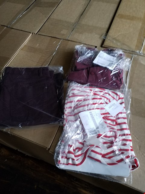 Lot 2512 LOT OF 4 BOXES OF APPROXIMATELY 250 ASSORTED CLOTHING ITEMS TO INCLUDE RED/WHITE STRIPED T SHIRT, RED JUMPER, PURPLE JEANS ETC