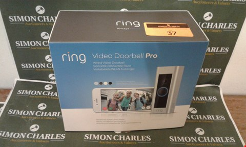 Lot 37 BOXED RING VIDEO DOORBELL PRO WIRED VIDEO DOORBELL