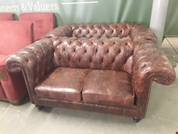 Lot 1008 LOT OF 2 OXBLOOD LEATHER DISTRESSED EFFECT 2 SEATER CHESTERFIELD SOFAS