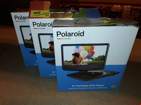 """Lot 2072 LOT OF 3 BOXED POLAROID 9"""" PORTABLE DVD PLAYERS"""