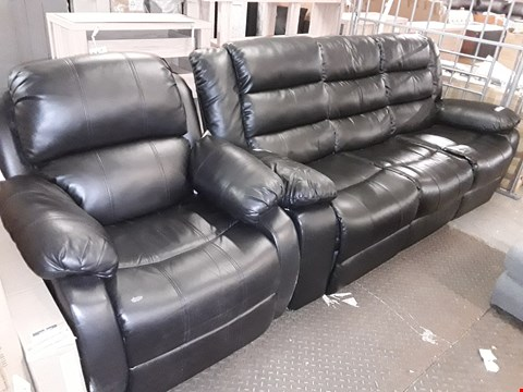Lot 10021 DESIGNER BLACK FAUX LEATHER MANUAL RECLINING SUITE, COMPRISING, THREE SEATER SOFA & EASY CHAIR