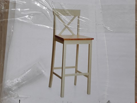 Lot 12198 BOXED DESIGNER CREAM/OAK EFFECT BAR CHAIR