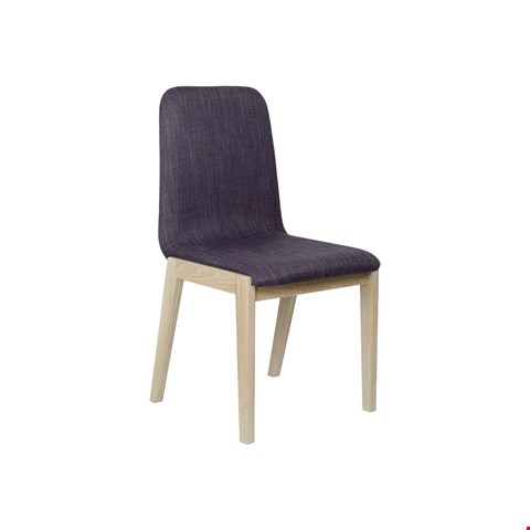 Lot 3028 CONTEMPORARY DESIGNER BOXED JENSON BLONDE OAK PAIR OF DINING CHAIRS WITH STEEL COLOURED FABRIC  RRP £196.00