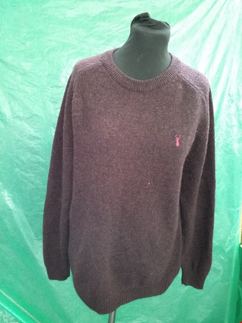 Lot 4107 BURGUNDY 100% LAMBSWOOL JUMPER - SIZE LARGE