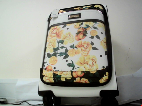 Lot 604 RIVER ISLAND FAUX LEATHER FLOWERY DESIGN 4 WHEEL HOLDALL
