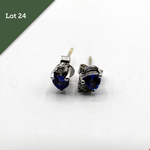 Lot 24 DESIGNER 18CT WHITE GOLD EARRINGS SET WITH A HEART SHAPED TANZANITE AND DIAMONDS RRP £1020.00