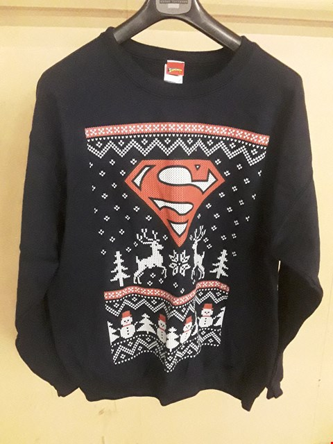 Lot 5045 BRAND NEW SUPERMAN NAVY LARGE CHRISTMAS JUMPER