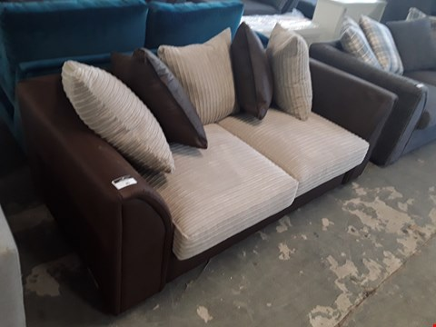 Lot 85 DESIGNER BROWN FAUX LEATHER AND BEIGE JUMBO CORD 2 SEATER SOFA