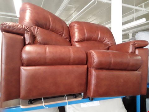 Lot 1022 QUALITY BRITISH MADE HARDWOOD FRAMED BROWN LEATHER PART RECLINING 2 SEATER SOFA