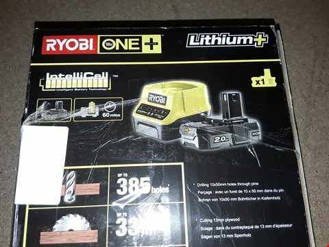 Lot 12377 RYOBI RC18120-120 18V ONE+ LITHIUM+ 2.0AH BATTERY AND CHARGER