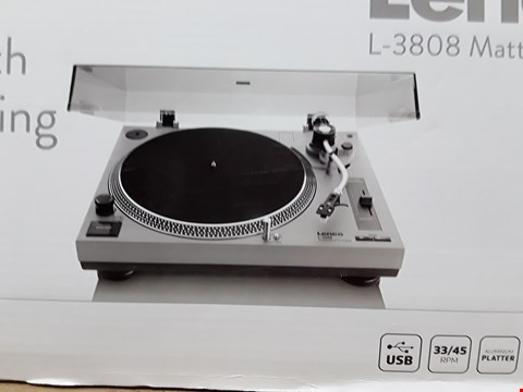 Lot 8107 LENCO L-3808 MATTE GREY TURNTABLE FOR VINYL WITH INTEGRATED STEREO PRE-AMPLIFIER