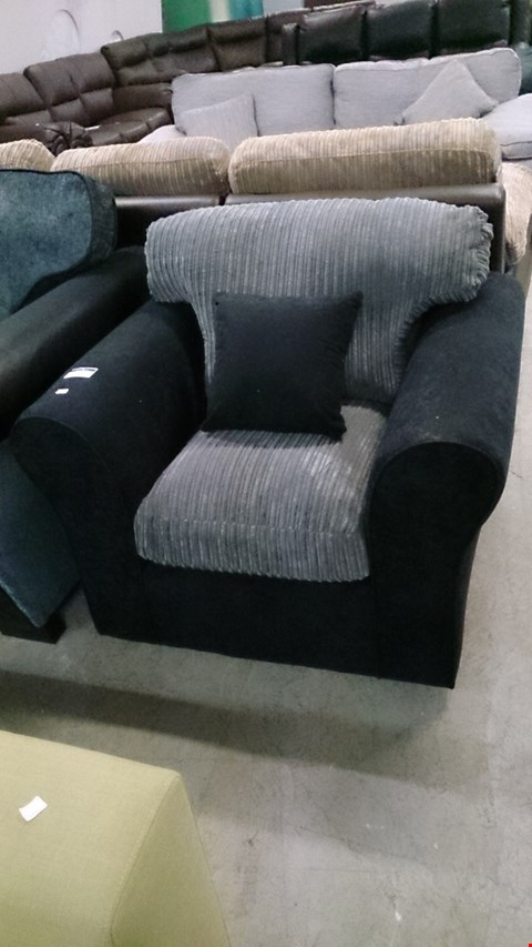 Lot 1213 DESIGNER BLACK FABRIC AND GREY CORDED FABRIC ARM CHAIR