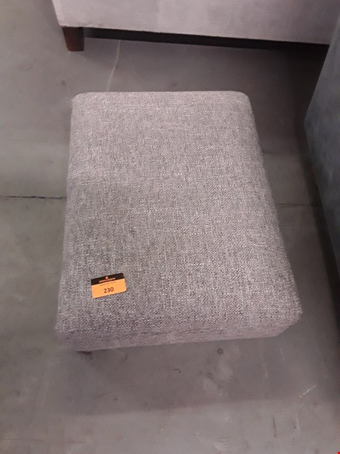 Lot 230 QUALITY BRITISH DESIGNER GREY WEAVE FABRIC FOOTSTOOL