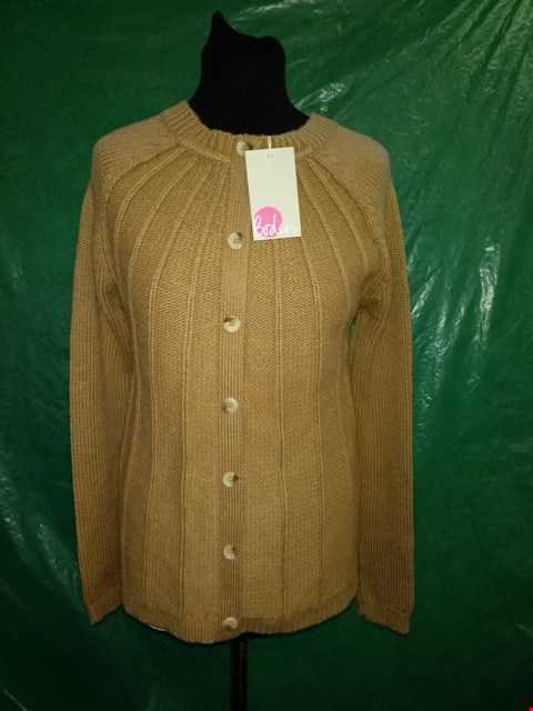 Lot 4094 BODEN CAMEL KNITTED BUTTON UP JUMPER - SIZE 10 UK