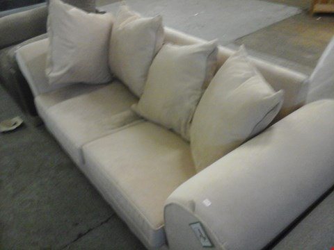 Lot 64 DESIGNER BEIGE FABRIC SOFA BED WITH CUSHIONS