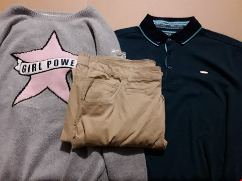 Lot 9362 4 BOXES OF APPROXIMATELY 80 ASSORTED CLOTHING ITEMS TO INCLUDE PLUSH SLOGAN JUMPER, TWISTED LEG TROUSERS, B&R POLO SHIRT