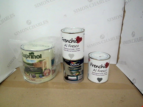 Lot 10769 BOX OF 4 ASSORTED TINS OF PAINT TO INCLUDE CUPRINOL, DULUX, FRENCHIC AL FRESCO ETC