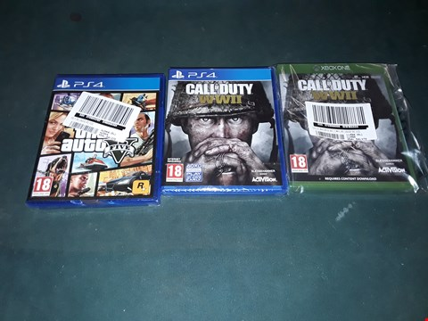 Lot 7175 APPROXIMATELY 3 BRAND NEW GAMES INCLUDING SONY PS4 GRAND THEFT AUTO 5 , PS4 CALL OF DUTY WWII AND XBOX ONE CALL OF DUTY WWII  RRP £120