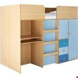 Lot 81 CHILDS BLUE MID SLEEPER WITH DESK & WARDROBE BELOW