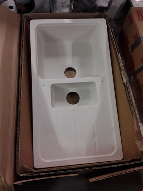 Lot 368 WHITE COMPOSITE 1.5 BOWL SINK & DRAINER