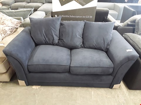 Lot 12 DESIGNER DARK BLUE FABRIC 2 SEATER SOFA