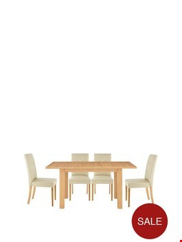 Lot 2047 BOXED GRADE 1 PRIMO 120CM BLACK/OAK-EFFECT TABLE AND 4 PVC CHAIRS ( 2 BOXES )